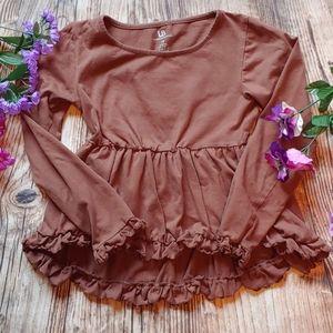 Girls size 10 high lo brown ruffle long sleeve top
